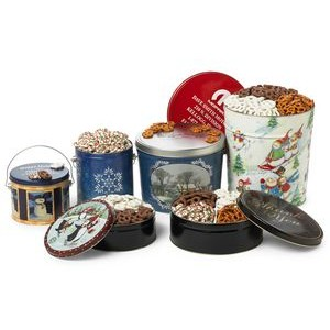 3 1/2 Gallon Designer Tin w/ 3 Way All Coated Pretzels