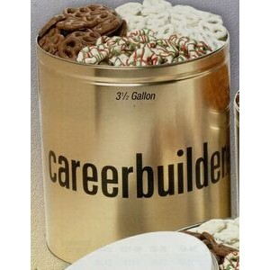 3 1/2 Gallon Custom Tin w/ 3-Way Coated Pretzels Sampler