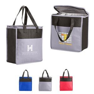 Two-Tone Flat Top Insulated Non-Woven Grocery Tote